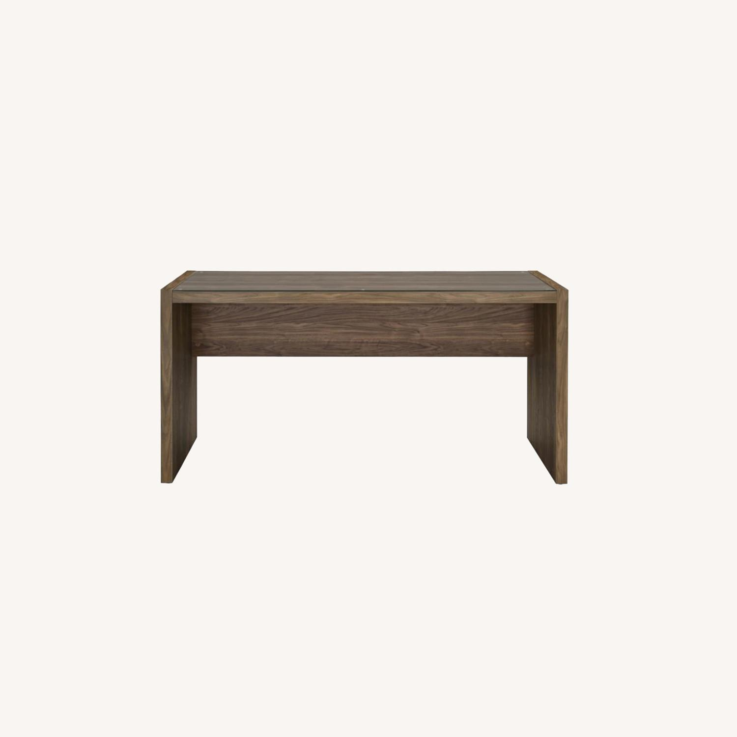 """59"""" Writing Desk In Aged Walnut W/ Tempered Glass - image-6"""