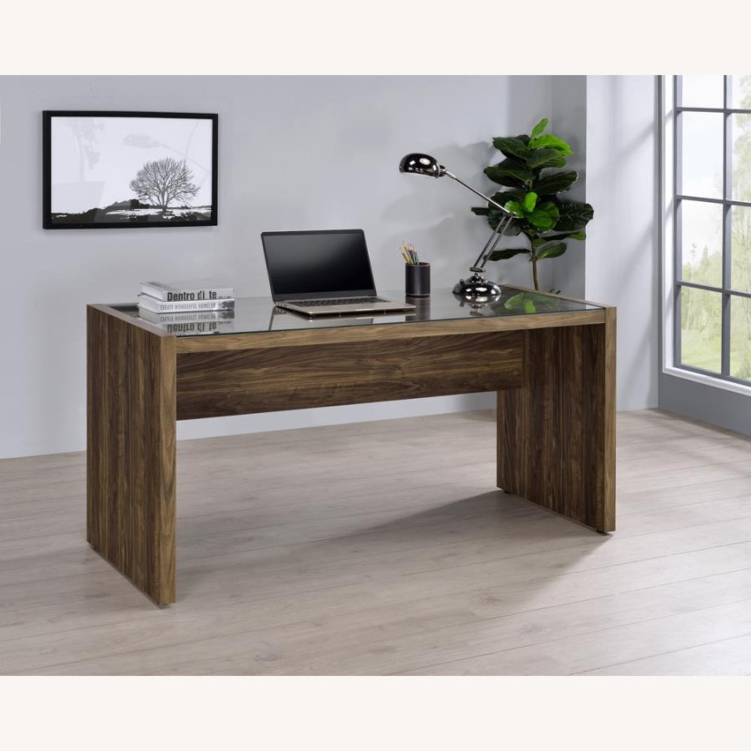 """59"""" Writing Desk In Aged Walnut W/ Tempered Glass - image-5"""