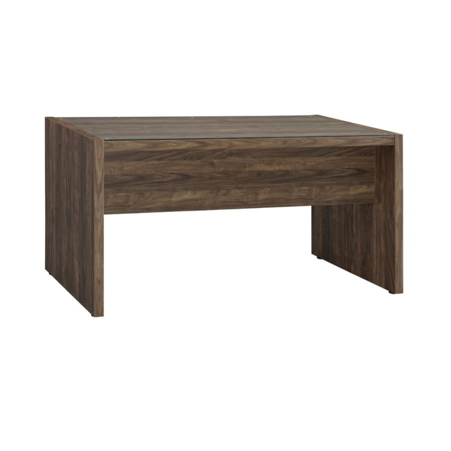 """59"""" Writing Desk In Aged Walnut W/ Tempered Glass - image-4"""