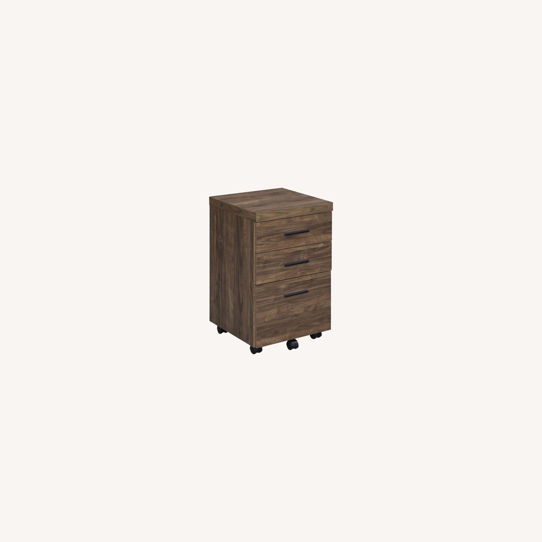 3-Drawer Mobile Storage Cabinet In Aged Walnut - image-7