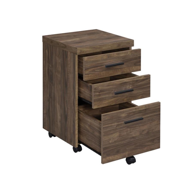 3-Drawer Mobile Storage Cabinet In Aged Walnut - image-1