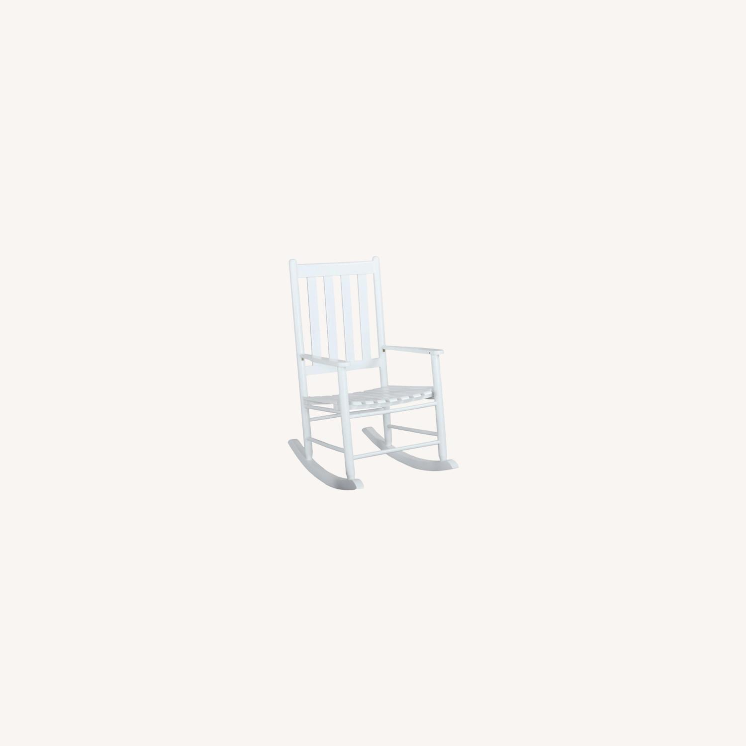 Rocking Chair In White Solid Acacia Wood Finish - image-3