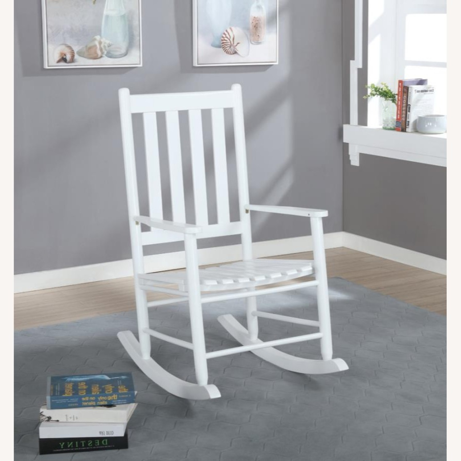 Rocking Chair In White Solid Acacia Wood Finish - image-2