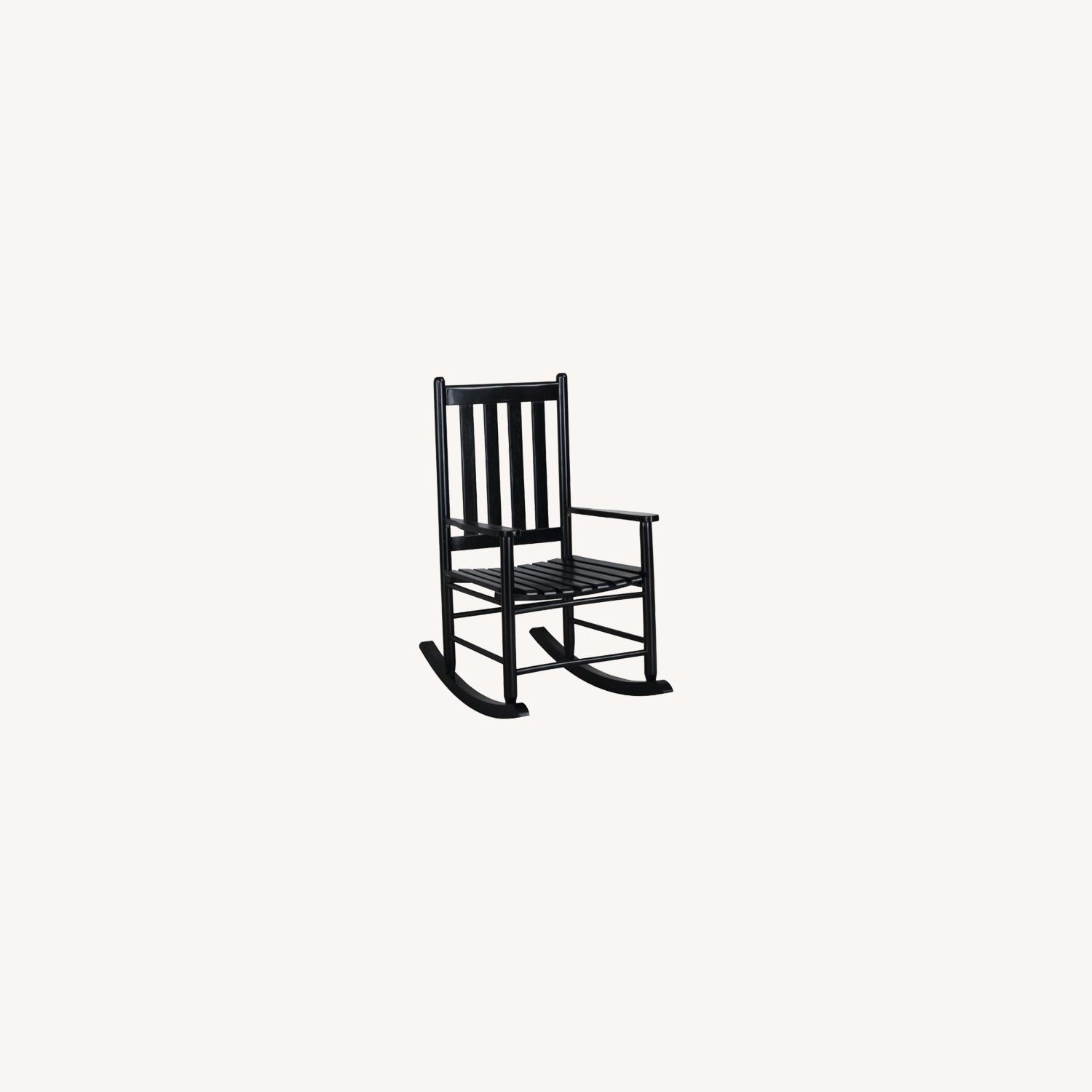 Rocking Chair In Black Solid Acacia Wood Finish - image-3