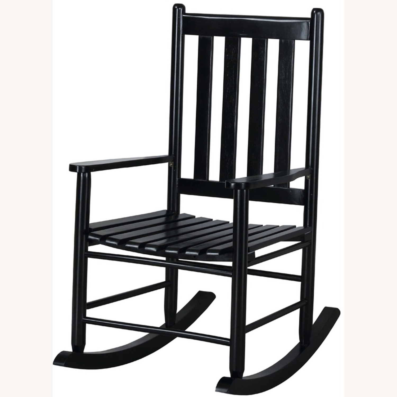 Rocking Chair In Black Solid Acacia Wood Finish - image-1