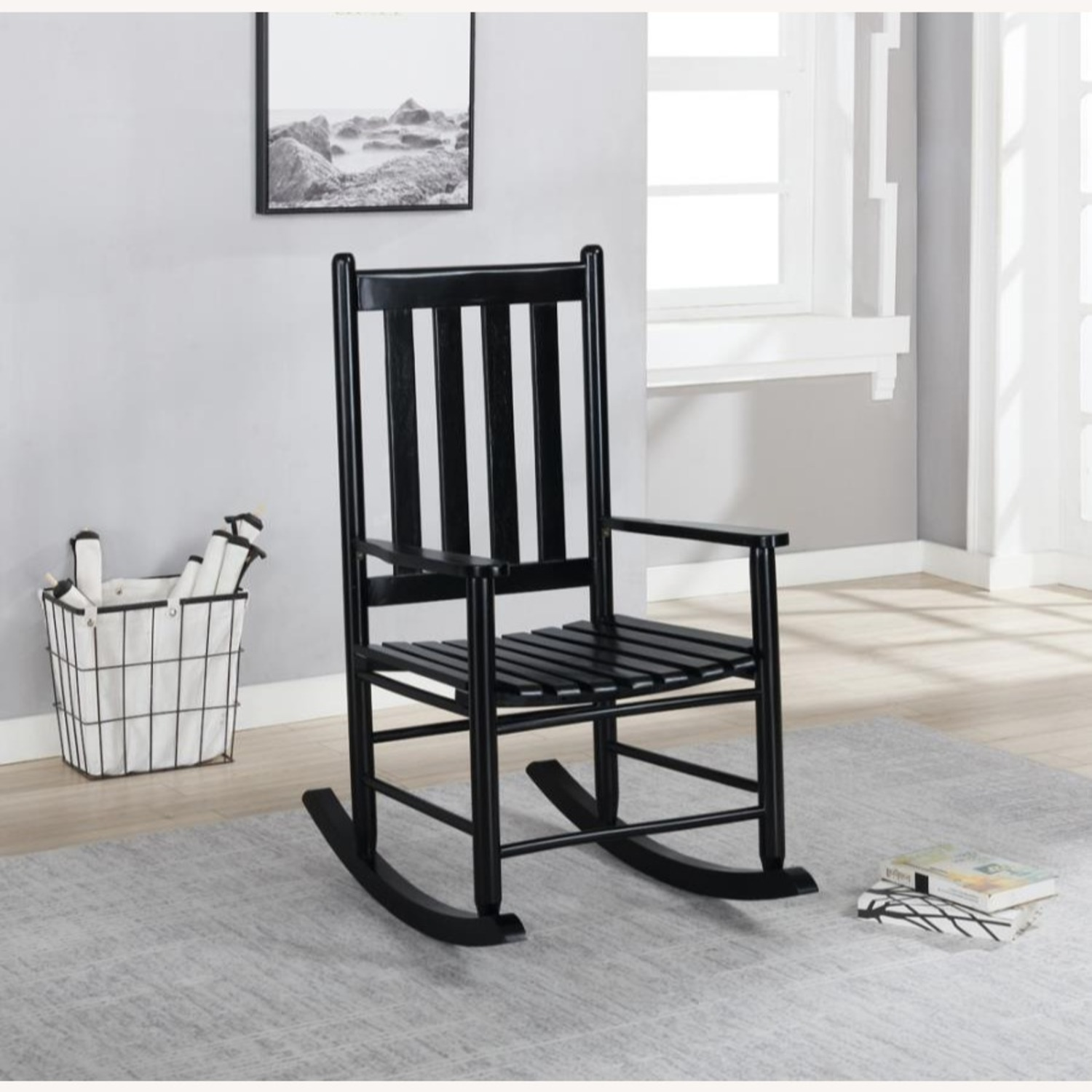 Rocking Chair In Black Solid Acacia Wood Finish - image-2