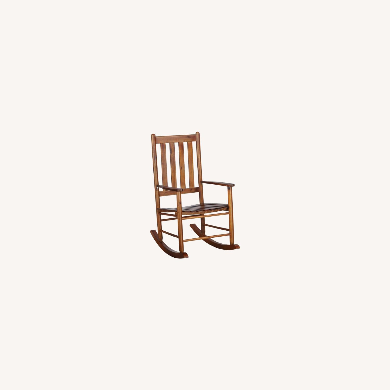 Rocking Chair In Golden Brown Solid Acacia Finish - image-3