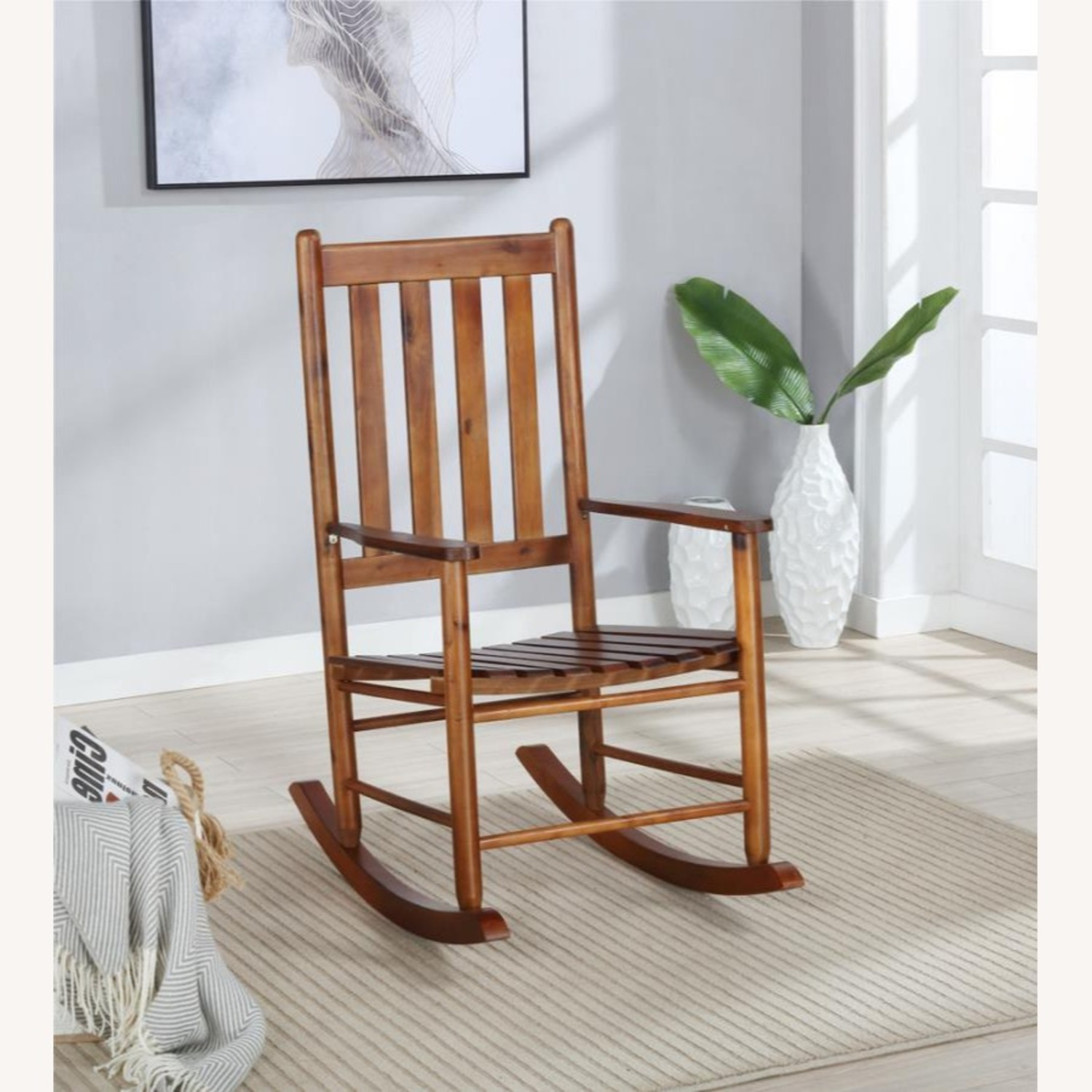 Rocking Chair In Golden Brown Solid Acacia Finish - image-2