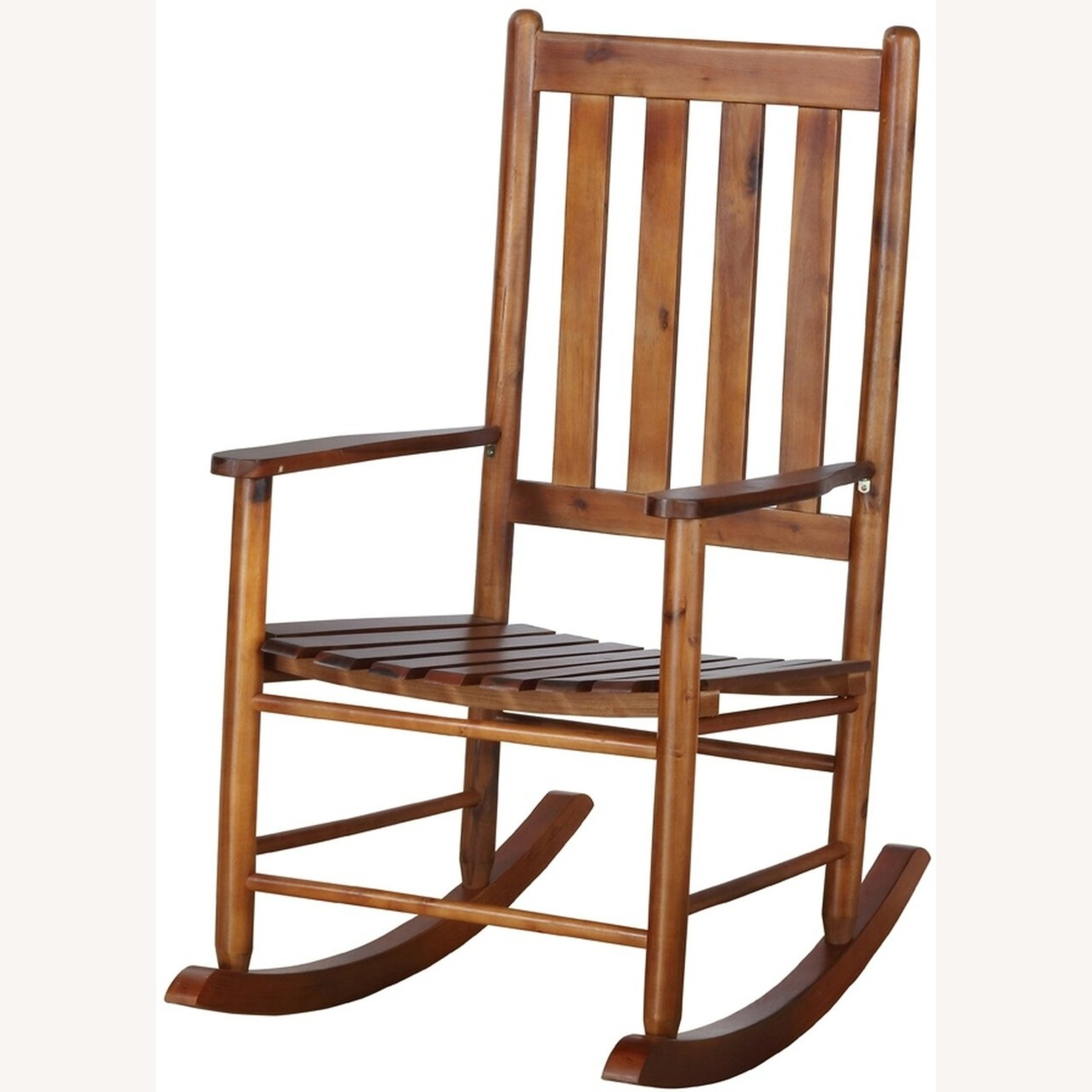 Rocking Chair In Golden Brown Solid Acacia Finish - image-1