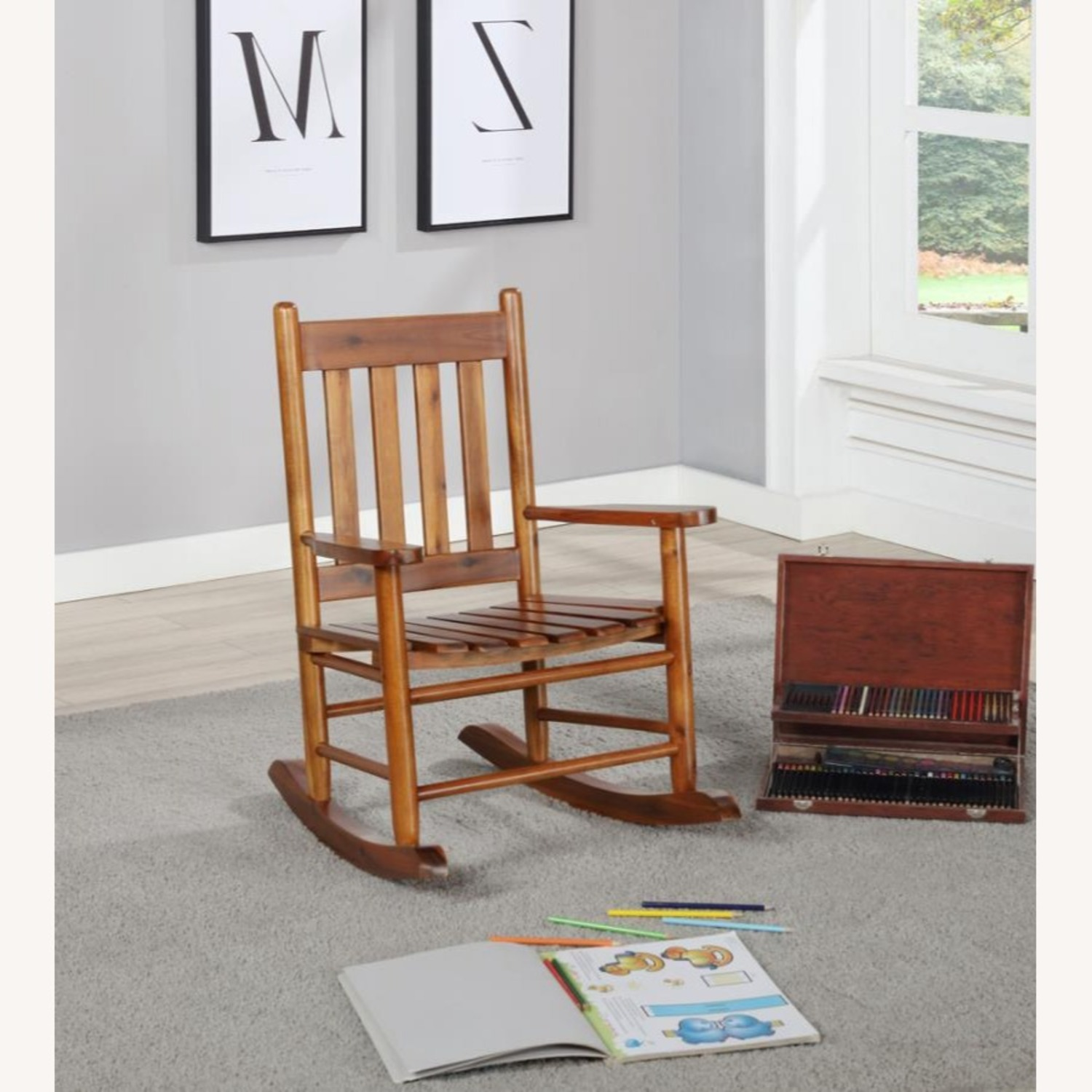 Kid's Rocking Chair In Golden Brown Finish - image-2
