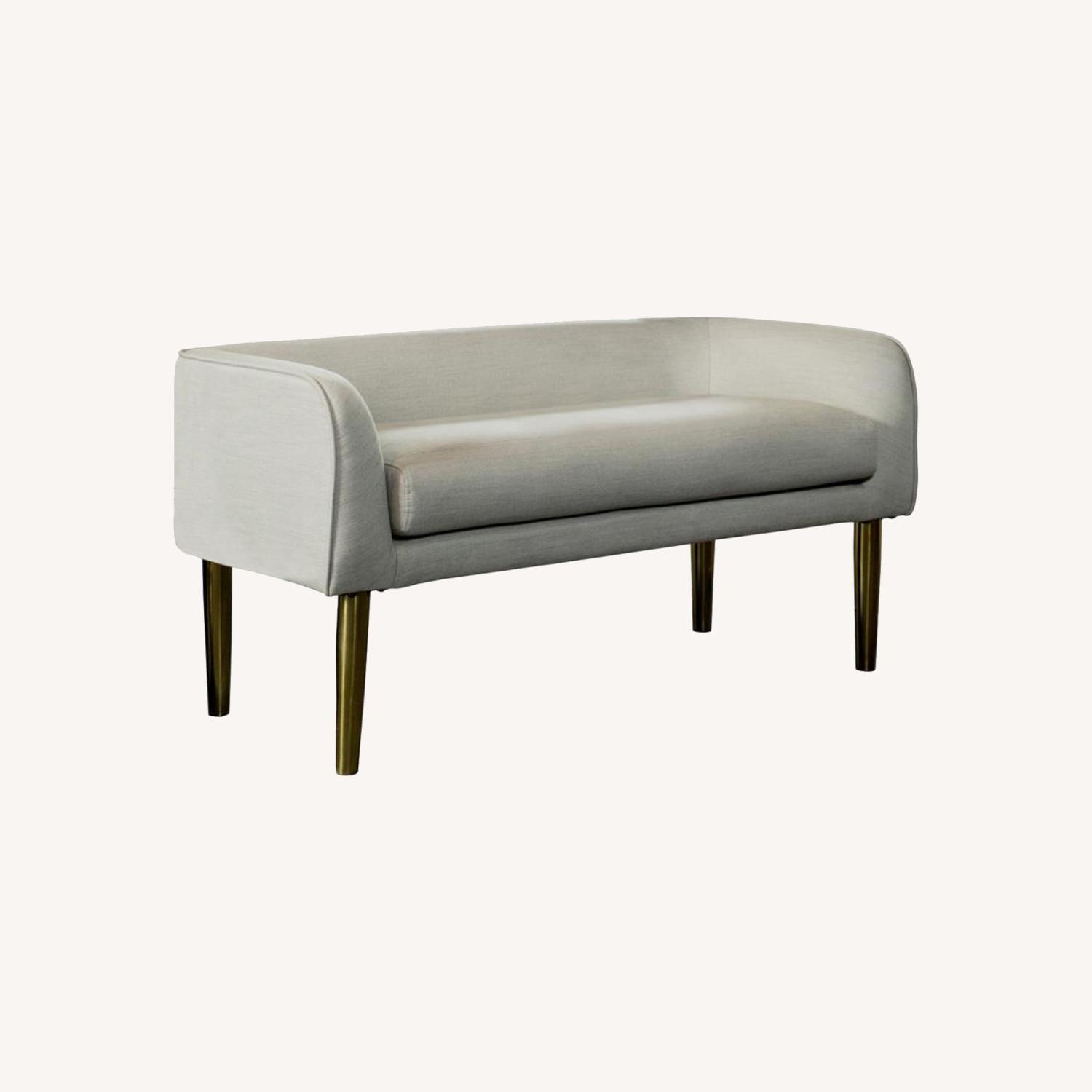 Bench In Light Grey Fabric W/ Tapered Legs - image-7
