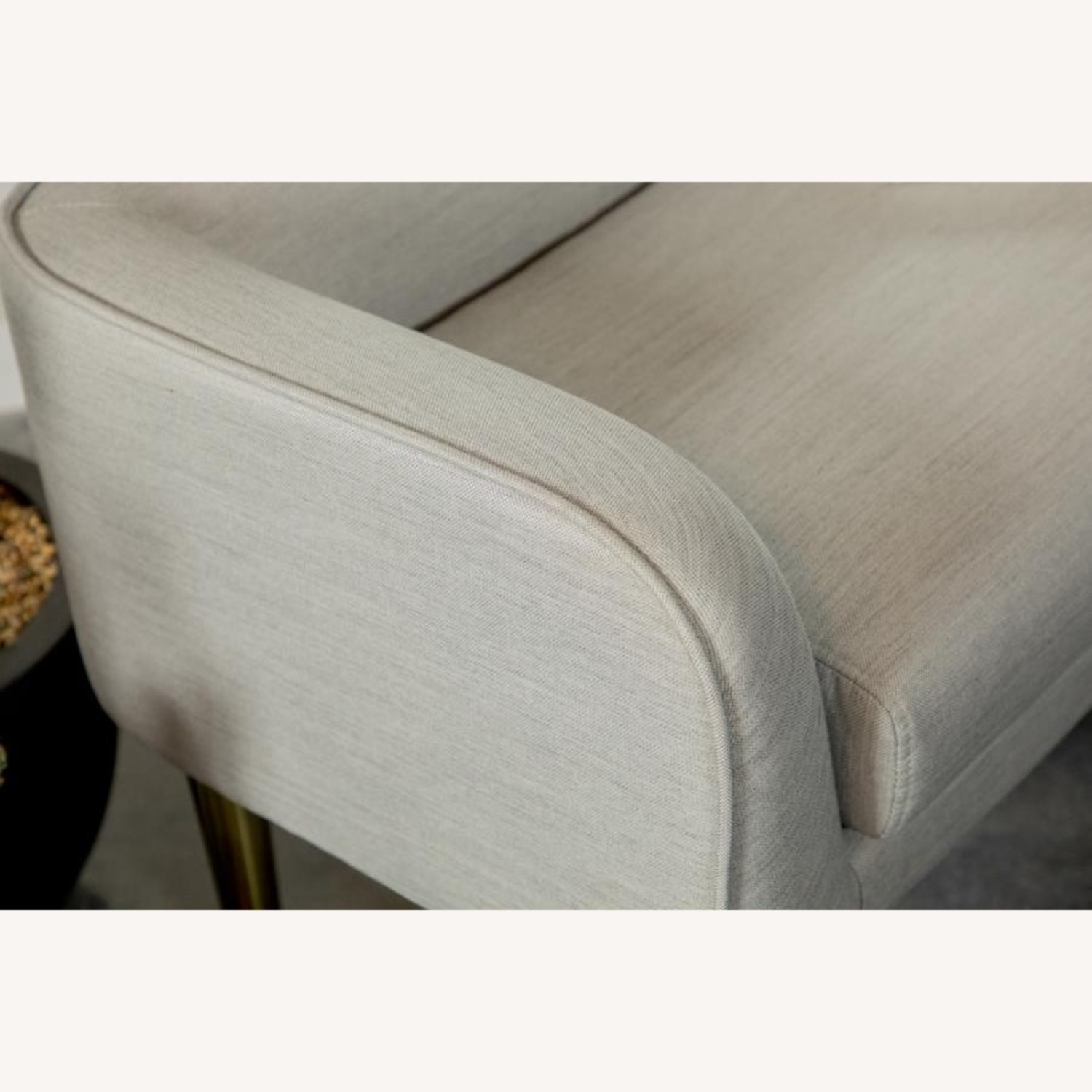 Bench In Light Grey Fabric W/ Tapered Legs - image-1