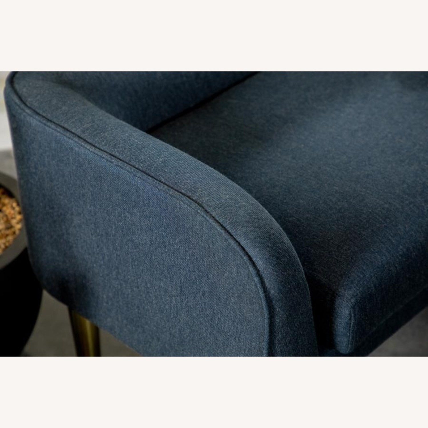 Bench In Blue Woven Fabric W/ Tapered Legs - image-2