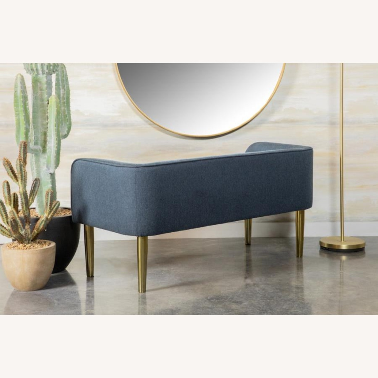 Bench In Blue Woven Fabric W/ Tapered Legs - image-5