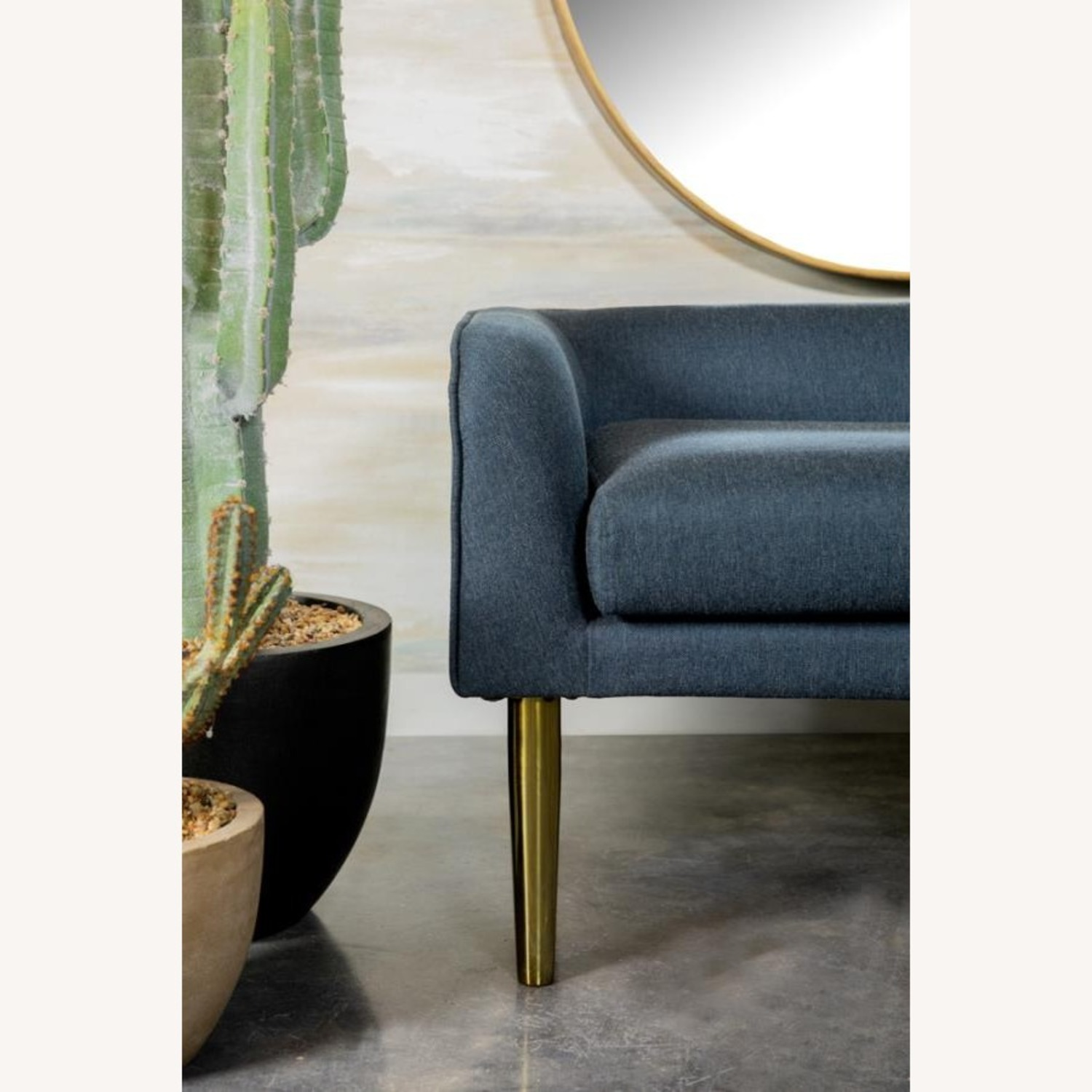 Bench In Blue Woven Fabric W/ Tapered Legs - image-3
