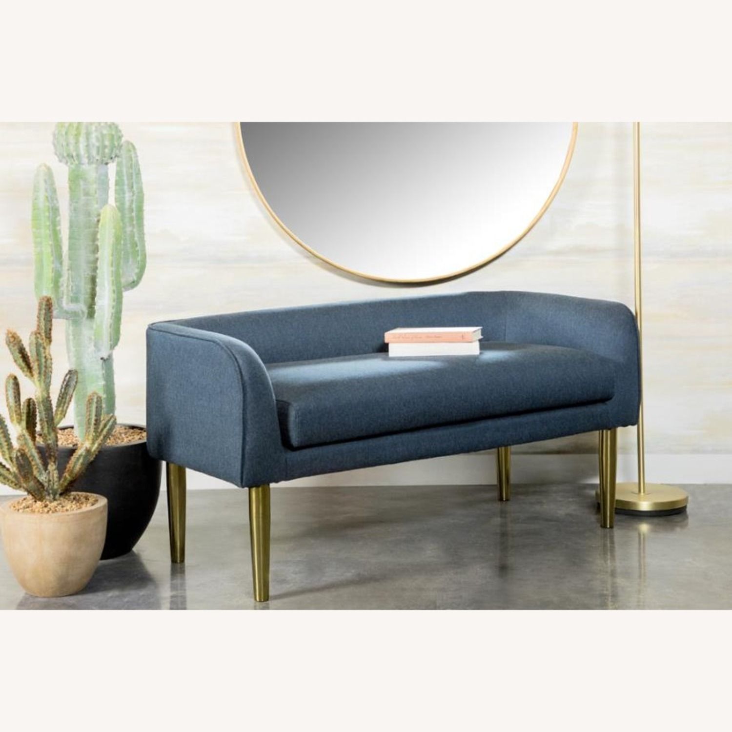 Bench In Blue Woven Fabric W/ Tapered Legs - image-4