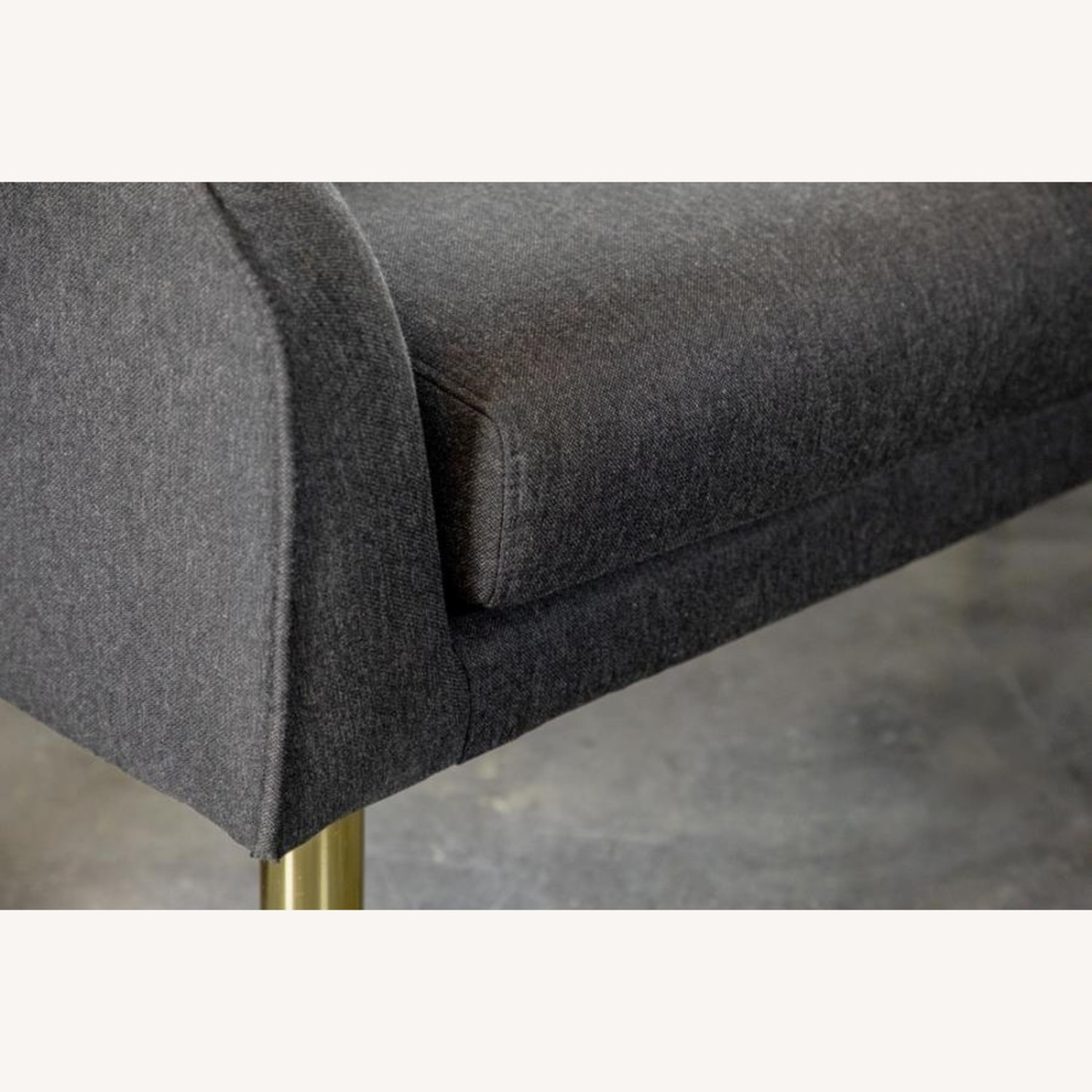 Bench In Dark Grey Woven Fabric W/ Tapered Legs - image-2