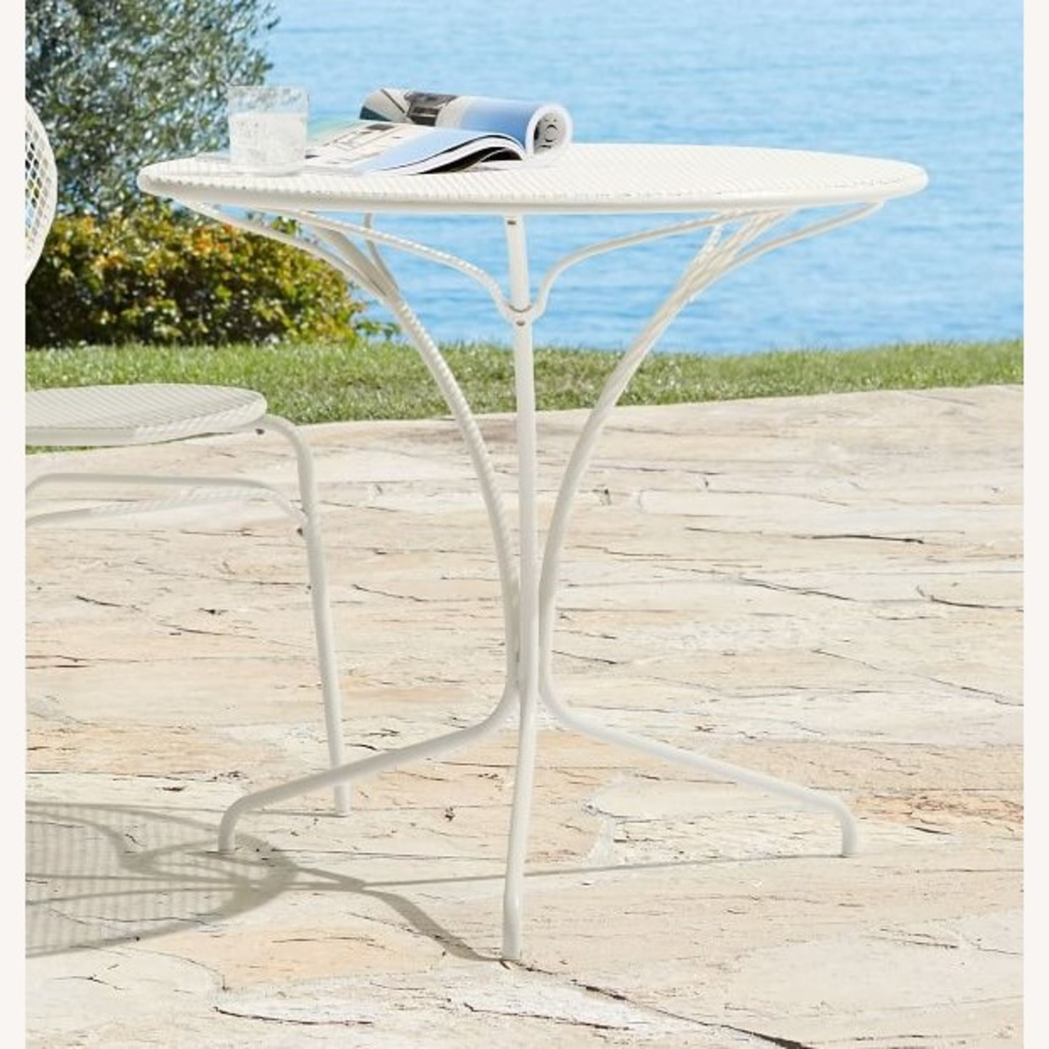 West Elm White Outdoor Bistro Table - image-4