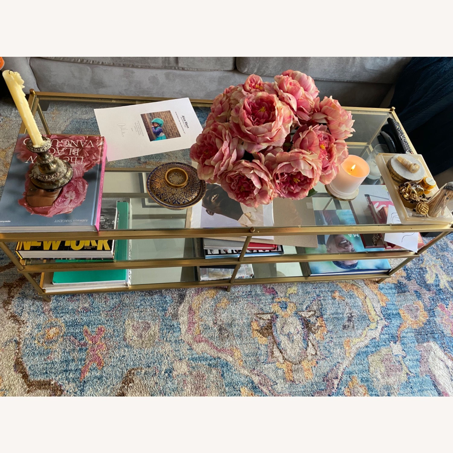 West Elm Glass Coffee Table - image-1