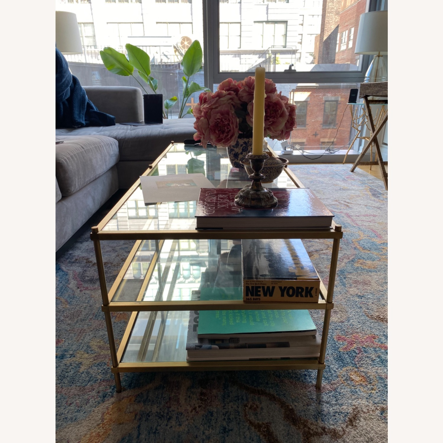 West Elm Glass Coffee Table - image-3