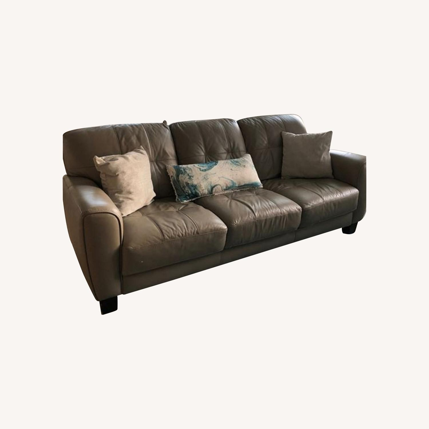 Macy's Tufted Leather Sofa - image-0
