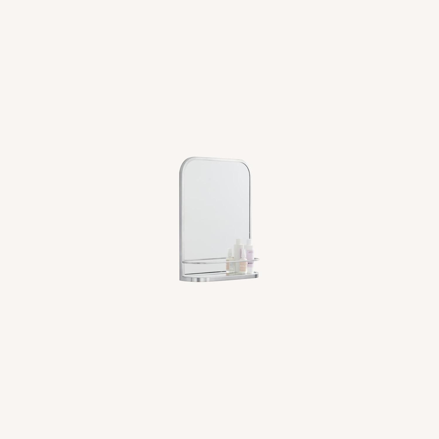 West Elm Seamless Mirror with Shelf, Chrome - image-0