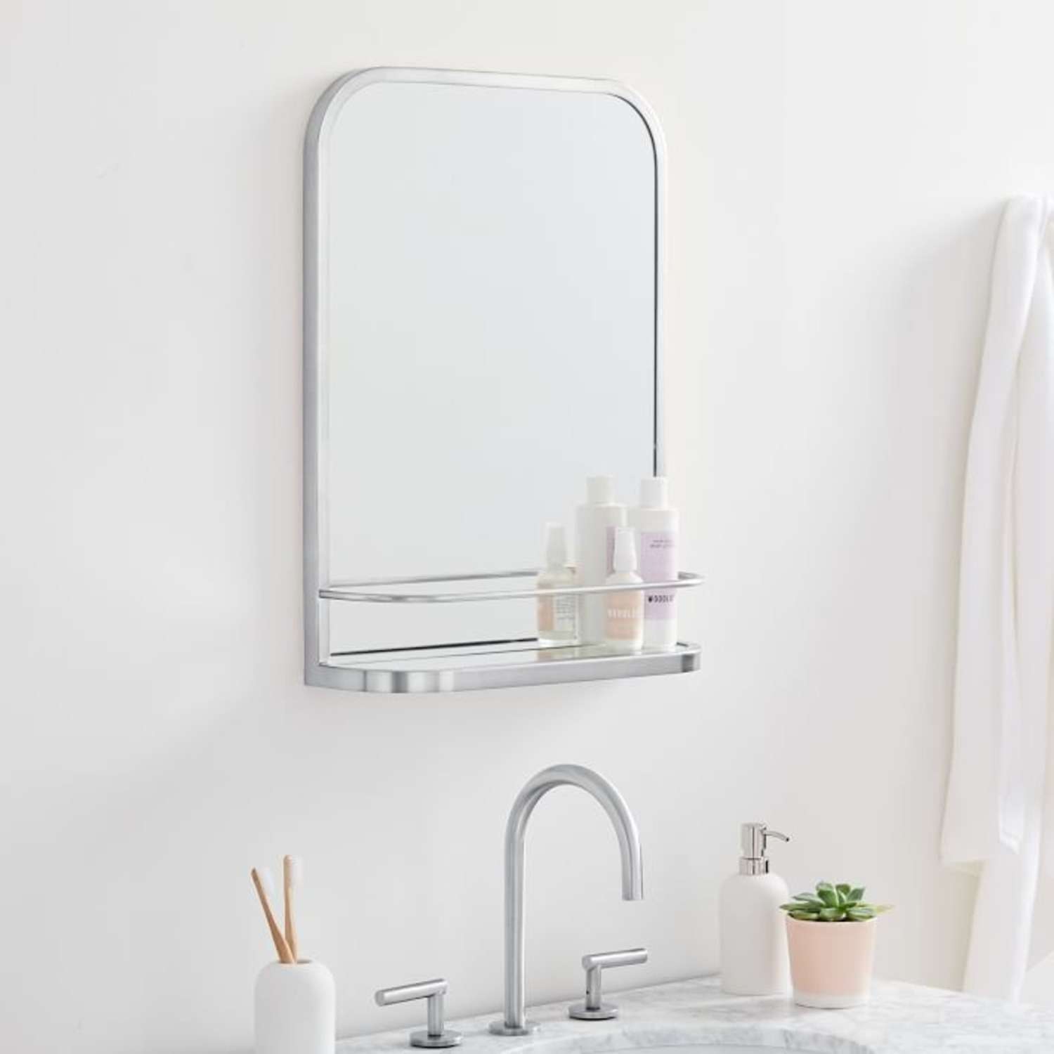 West Elm Seamless Mirror with Shelf, Chrome - image-1