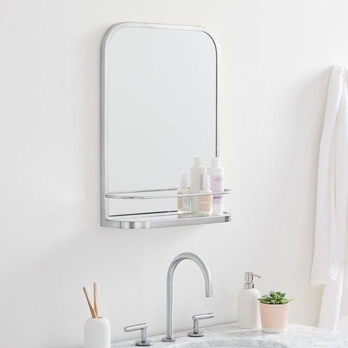 Used West Elm Seamless Mirror with Shelf, Chrome for sale on AptDeco