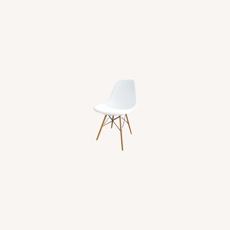 Wayfair White Eiffel scoop Seat Dining Chair Wooden Legs - image-0