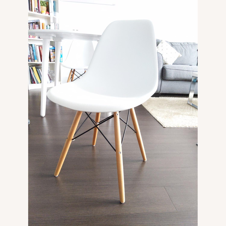 Wayfair White Eiffel scoop Seat Dining Chair Wooden Legs - image-1