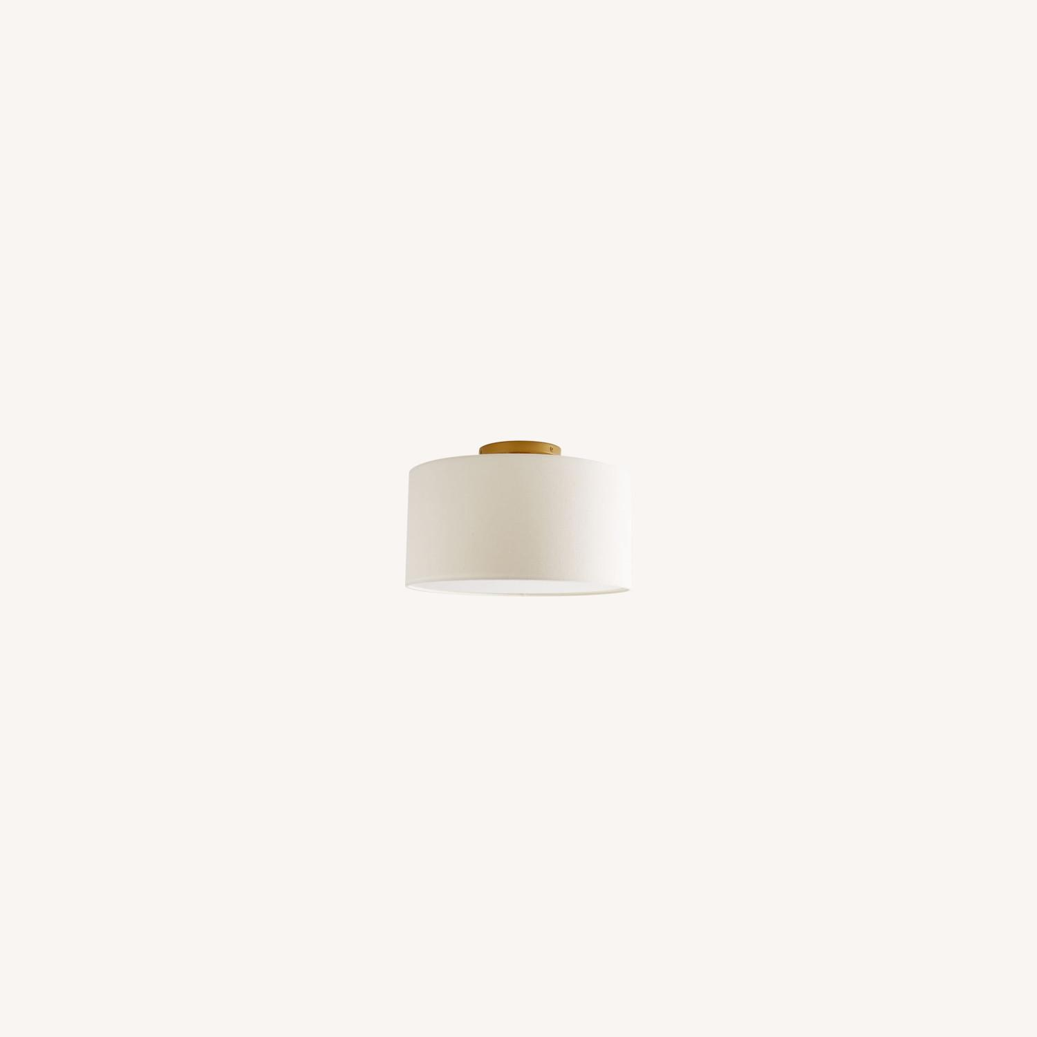 West Elm Fabric Shade Flush Mount - image-0