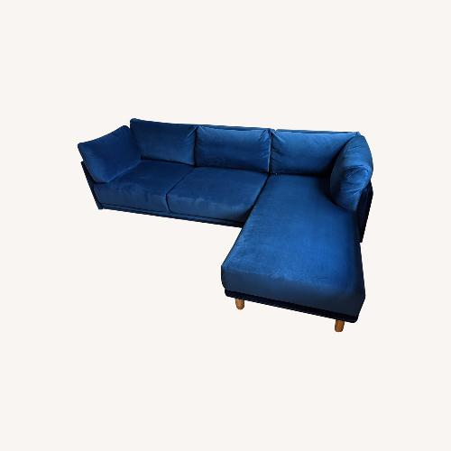 Used Rove Concepts Anderson Blue Velvet Sectional for sale on AptDeco