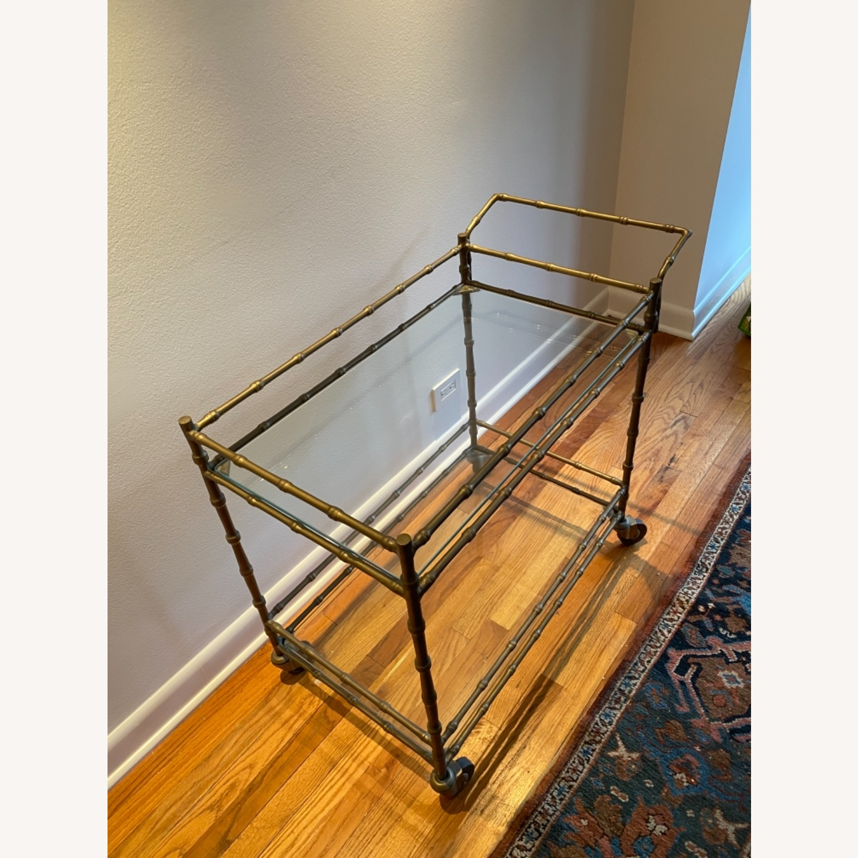 Ballard Designs Jill Bar Cart Brass Bamboo & Glass - image-2