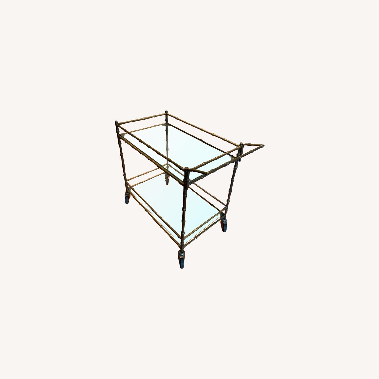 Ballard Designs Jill Bar Cart Brass Bamboo & Glass - image-0