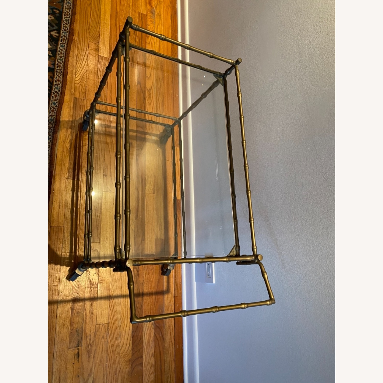 Ballard Designs Jill Bar Cart Brass Bamboo & Glass - image-4