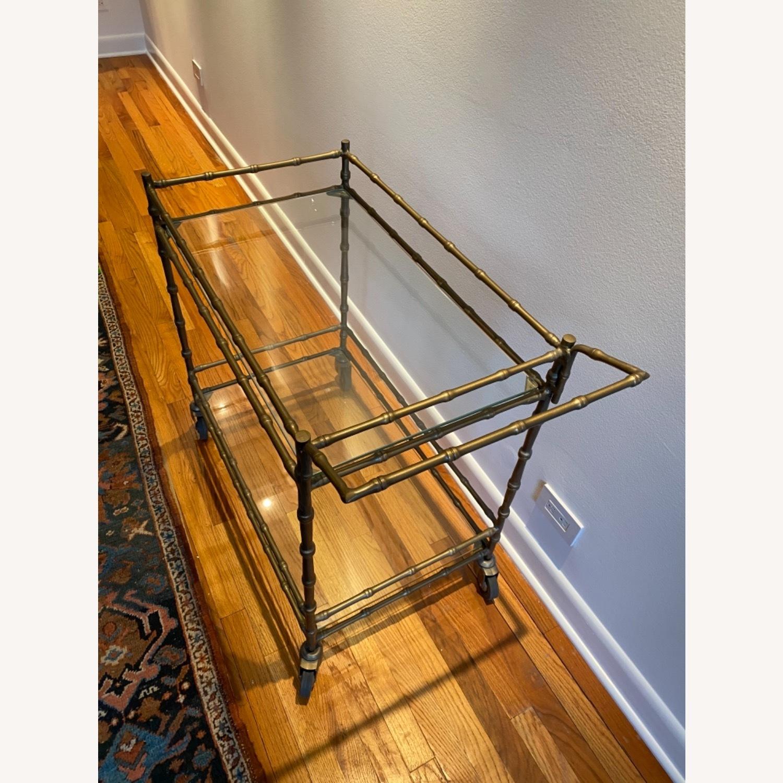 Ballard Designs Jill Bar Cart Brass Bamboo & Glass - image-3