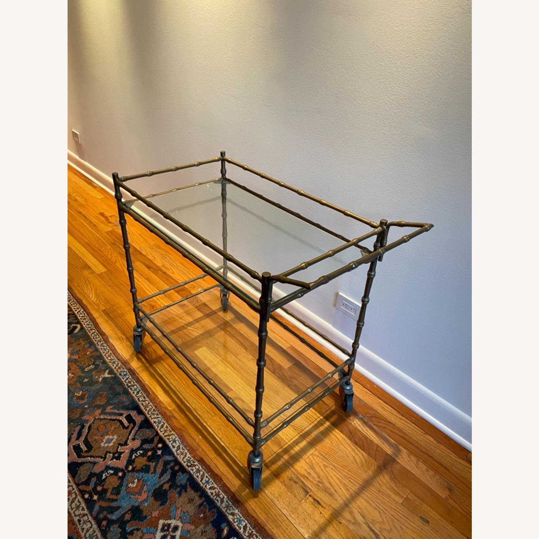 Ballard Designs Jill Bar Cart Brass Bamboo & Glass - image-1