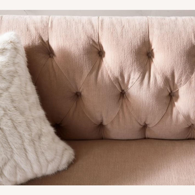 Pottery Barn Adeline Sofa Blush Velvet - image-2