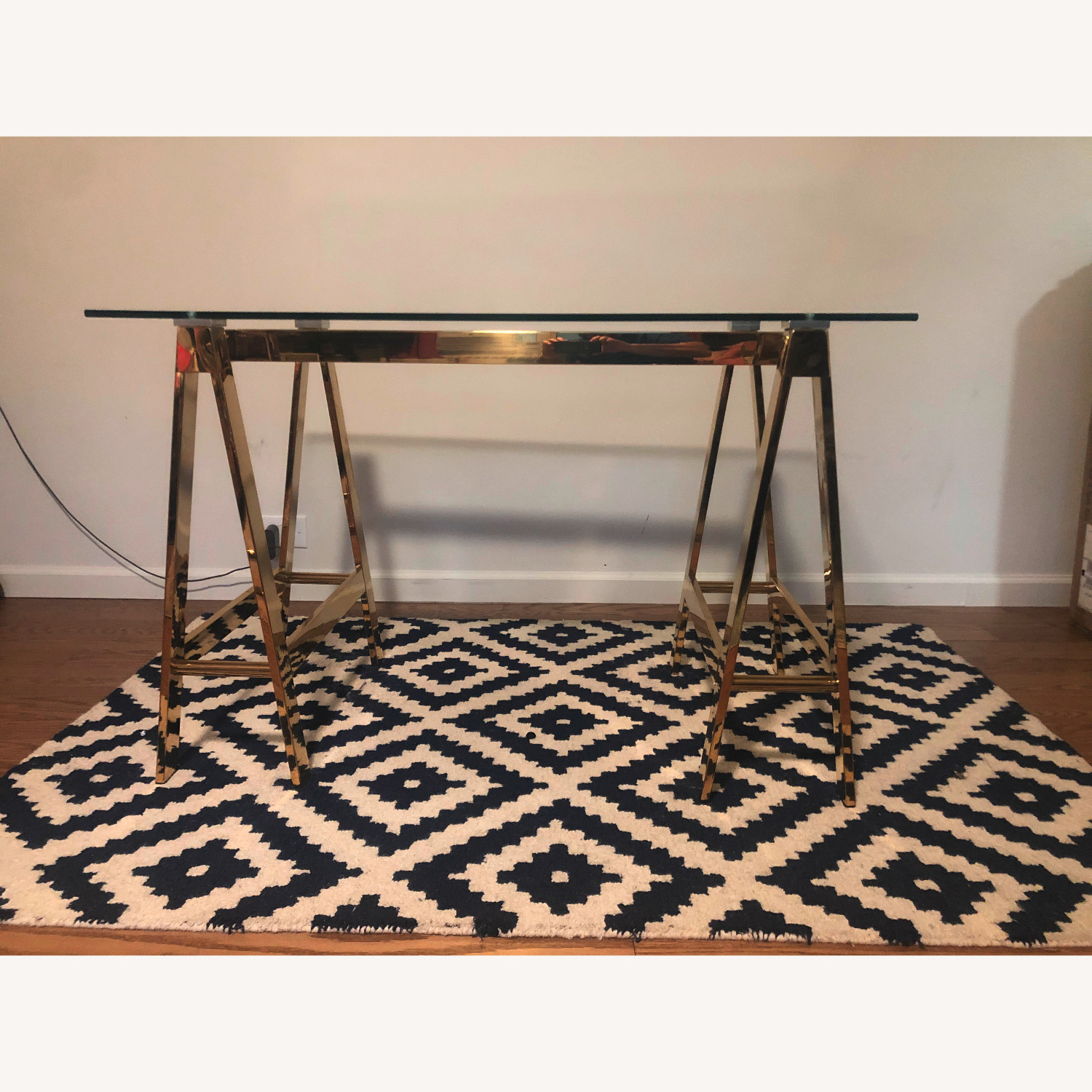 Glass/Metal Desk in Rose Gold - image-0