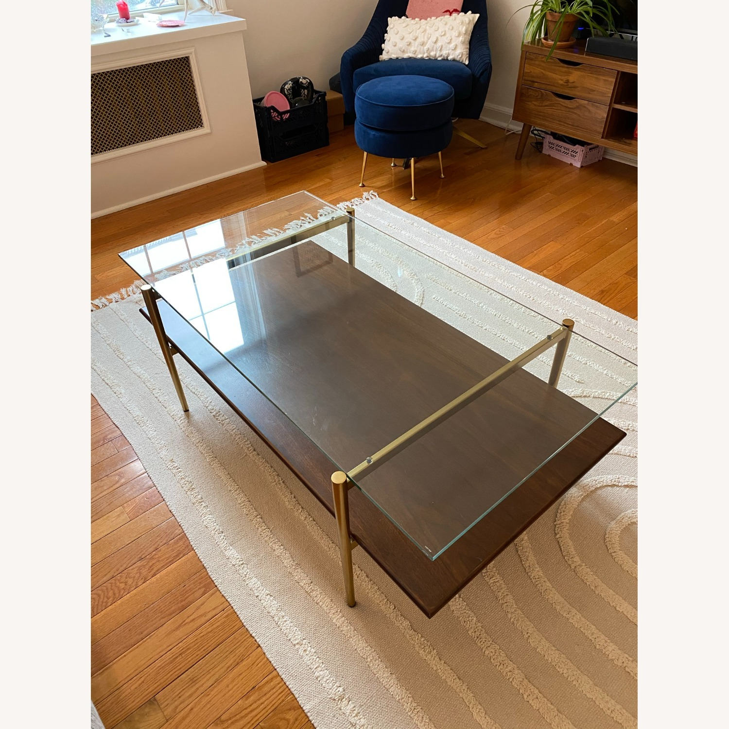 West Elm Coffee Table Glass and Wood - image-3
