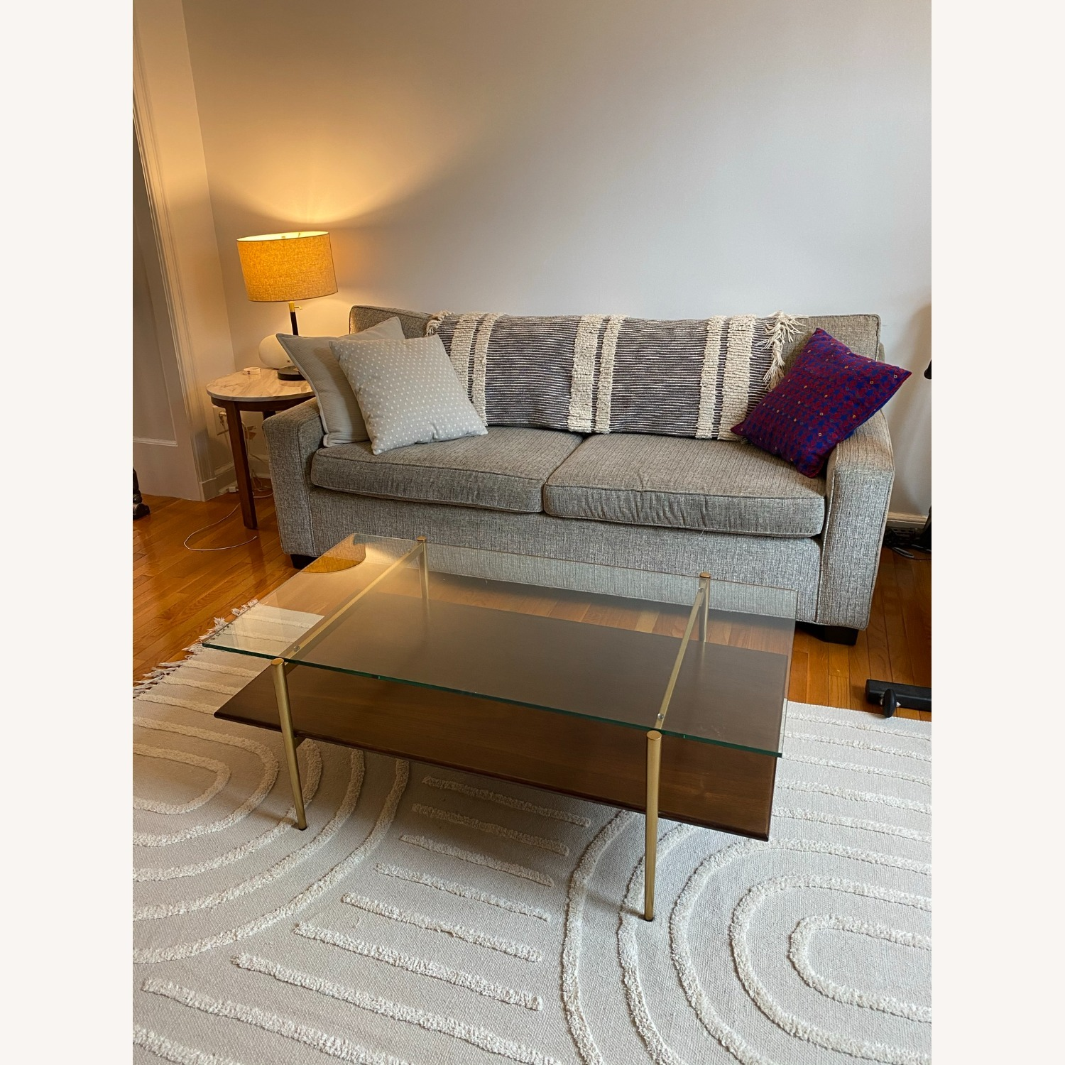 West Elm Coffee Table Glass and Wood - image-1