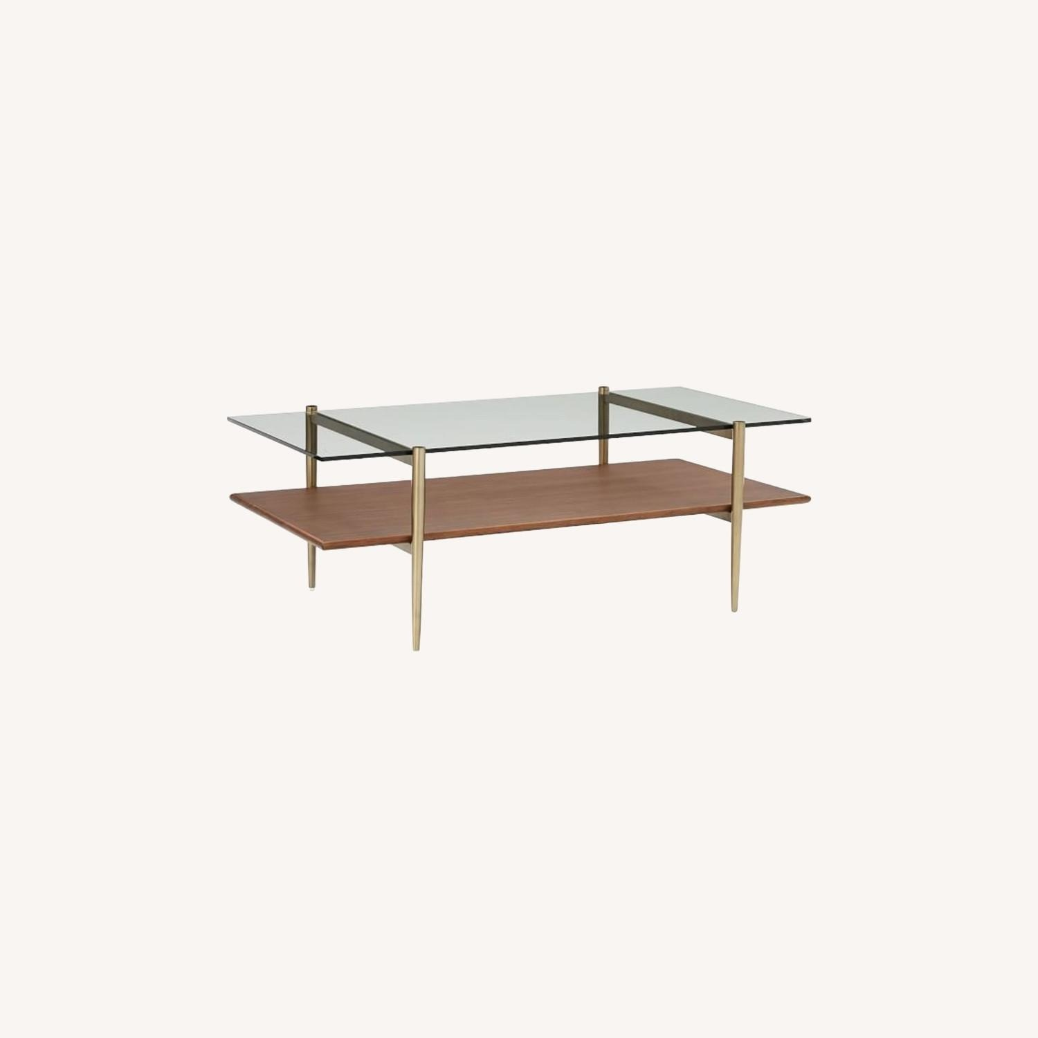 West Elm Coffee Table Glass and Wood - image-0