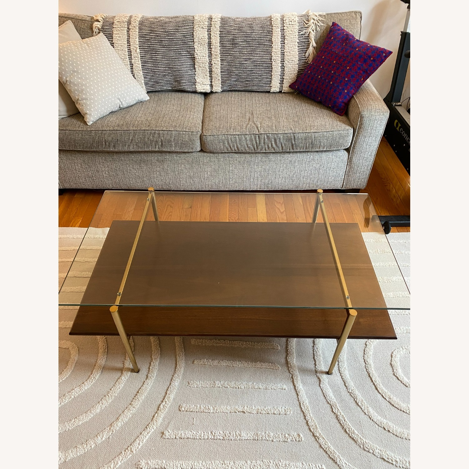 West Elm Coffee Table Glass and Wood - image-4