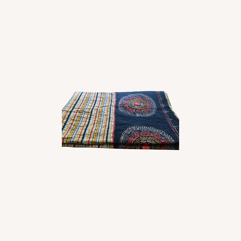 Four Hands Vintage Uzbek Quilt Embroidered Handmade Blanket - image-0