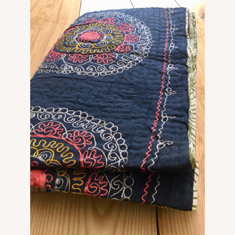 Four Hands Vintage Uzbek Quilt Embroidered Handmade Blanket - image-4