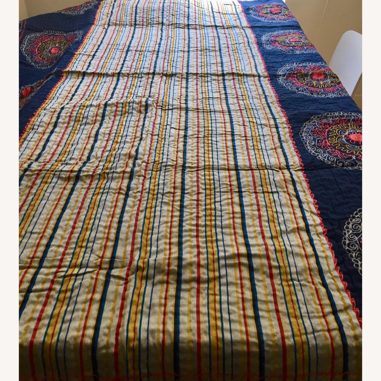 Four Hands Vintage Uzbek Quilt Embroidered Handmade Blanket - image-1