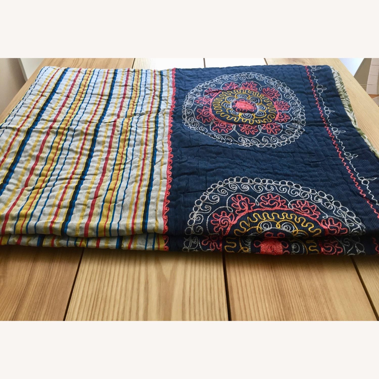 Four Hands Vintage Uzbek Quilt Embroidered Handmade Blanket - image-3