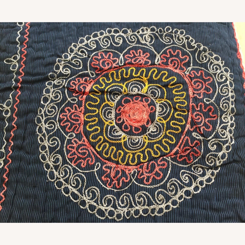 Four Hands Vintage Uzbek Quilt Embroidered Handmade Blanket - image-5