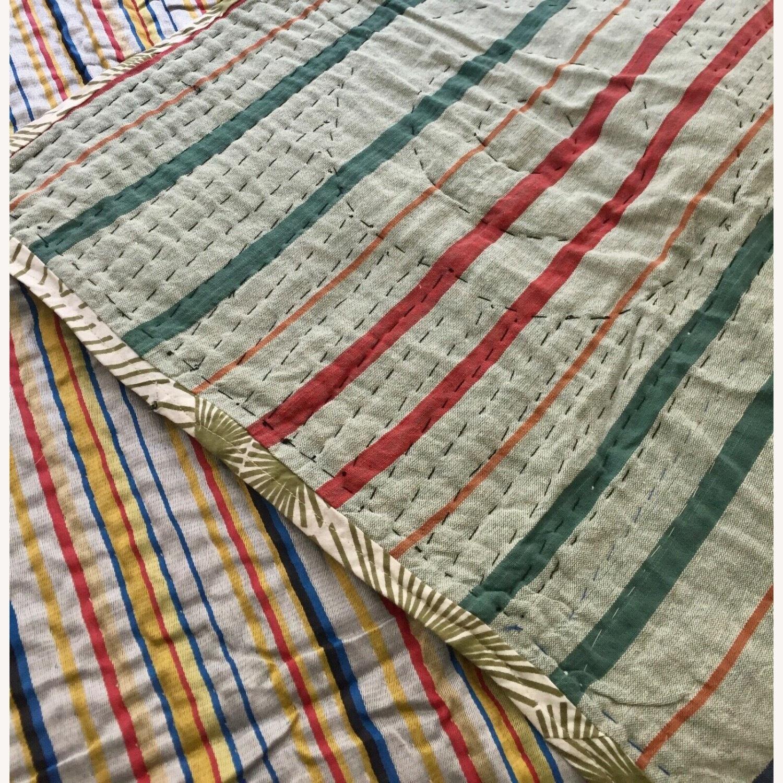 Four Hands Vintage Uzbek Quilt Embroidered Handmade Blanket - image-6