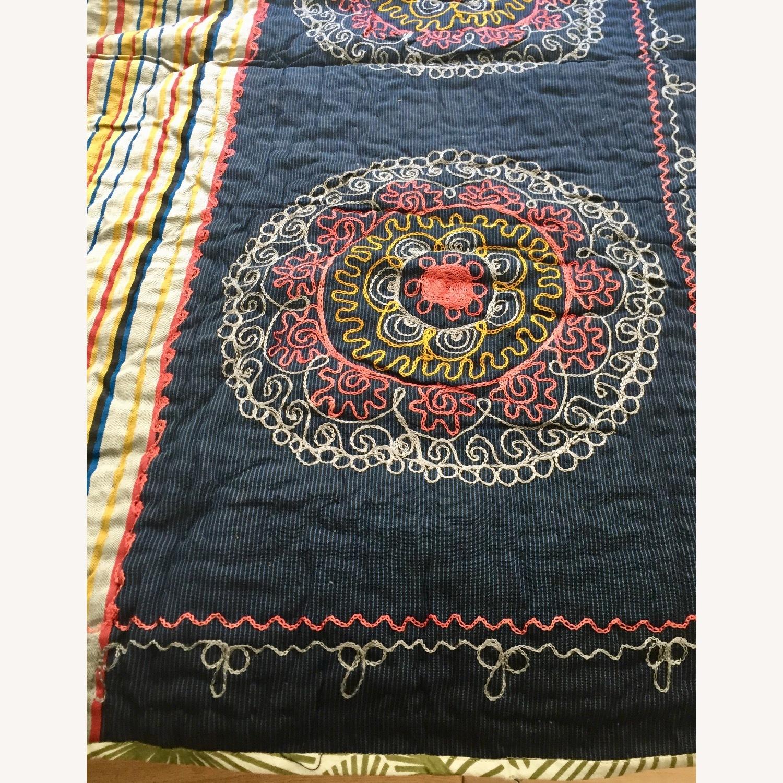 Four Hands Vintage Uzbek Quilt Embroidered Handmade Blanket - image-2